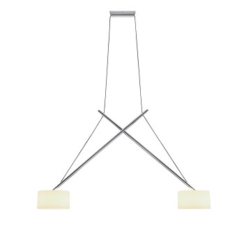 Serien Lighting Twin Suspension LED, 3000K, Aluminium glanzverchromt, Echtglas