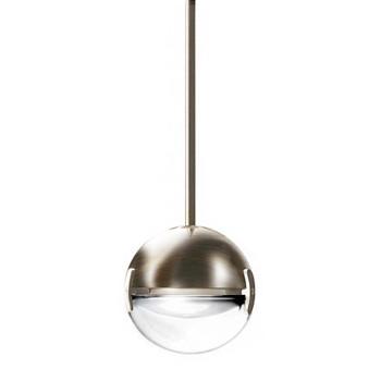 Cini & Nils Convivio new LED Sopratavolo Decentrata, Nickel satiniert, Glas transparent