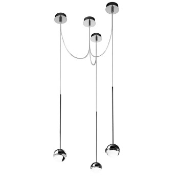 Cini & Nils Convivio new LED Sopratavolo Tre, Chrom, Glas transparent