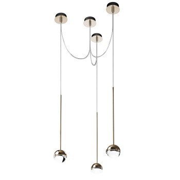 Cini & Nils Convivio new LED Sopratavolo Tre, Nickel satiniert, Glas transparent