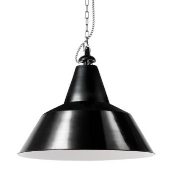 Bolich Bielefeld Pendelleuchte, 45 cm, Alu-Gussaufhängung mit vernickelter Kette, Textilkabel schwarz-weiß, Stahlblech tiefschwarz außen
