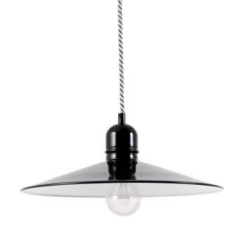 Bolich Bingen Pendelleuchte, 35 cm, Kabel-Aufhängung, Textilkabel schwarz-weiß, Stahlblech tiefschwarz außen