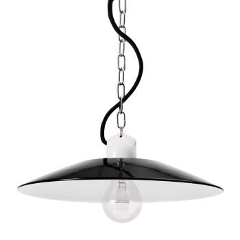 Bolich Bonn Pendelleuchte, 30 cm, Porzellanbügelfassung mit vernickelter Kette, Textilkabel schwarz, Stahlblech tiefschwarz außen
