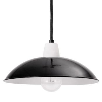Bolich Boxberg Pendelleuchte, 26 cm, Porzellanfassung, Textilkabel schwarz, Stahlblech tiefschwarz außen