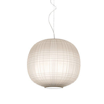 Foscarini Tartan Sospensione LED, weiß, dimmbar Push/DALI