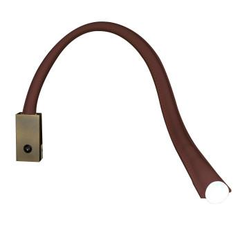 Contardi Flexiled AP L60 mit Schalter, Bronze satiniert, Leder dunkelbraun