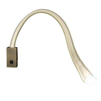 Contardi Flexiled AP L60 mit Schalter, Bronze satiniert, Leder elfenbeinfarben