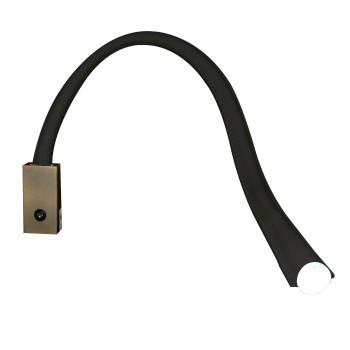 Contardi Flexiled AP L60 mit Schalter, Bronze satiniert, Leder schwarz