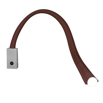 Contardi Flexiled AP L60 mit Schalter, Nickel satiniert, Leder dunkelbraun