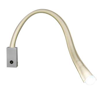 Contardi Flexiled AP L90 mit Schalter, Nickel satiniert, Leder elfenbeinfarben