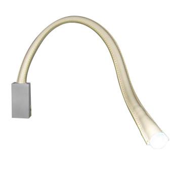 Contardi Flexiled AP L60, Nickel satiniert, Leder elfenbeinfarben