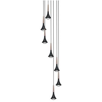 Lodes Rain Cluster 7, Struktur schwarz / Schaft roségold