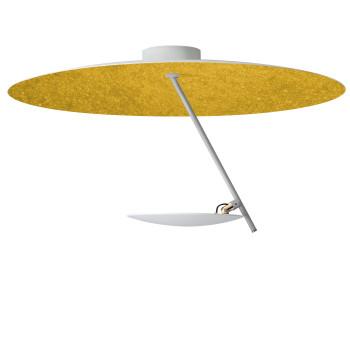 Catellani & Smith Lederam C150, Scheibe oben weiß/golden, Stab satiniert, Scheibe unten weiß