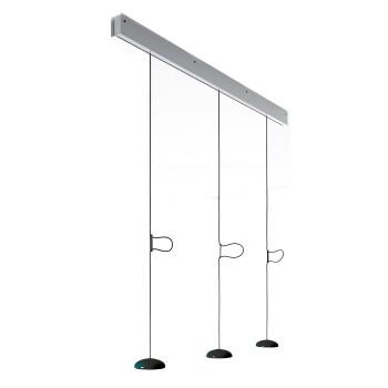 Anta Jose auf Schiene 118 cm, 3 Schirme schwarz, Schiene Aluminium