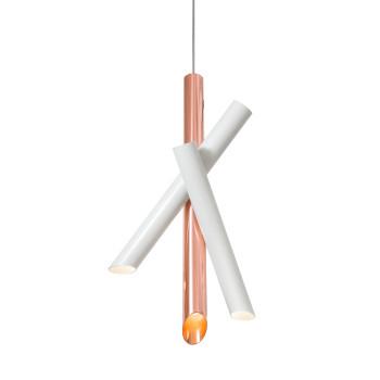 Nemo Tubes 3 Pendant Light, white, copper
