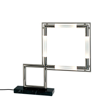 Lumen Center Italia Quadro VII Re-Edition Lampe de table, palladium et marbre noir