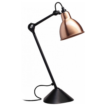 DCW Lampe Gras No 205, schwarz, Schirm Kupfer