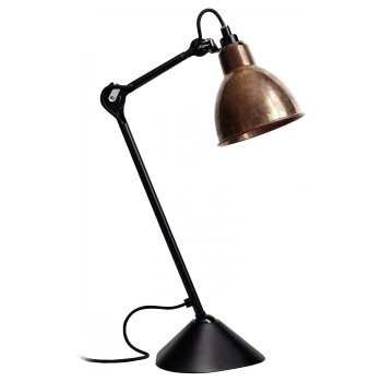 DCW Lampe Gras No 205, schwarz, Schirm Kupfer roh
