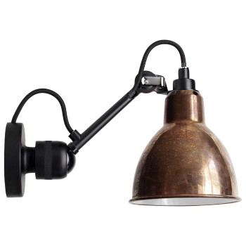 DCW Lampe Gras No 304, schwarz, Schirm Glas matt
