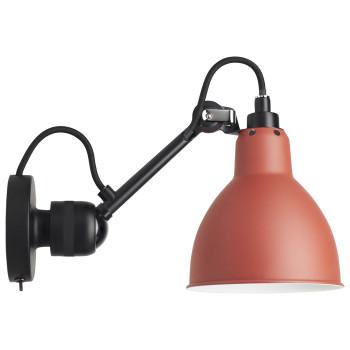 DCW Lampe Gras No 304 SW, schwarz, Schirm rot