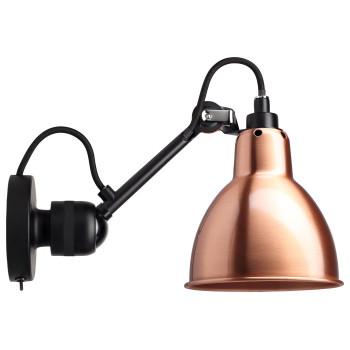 DCW Lampe Gras No 304 SW, schwarz, Schirm Kupfer