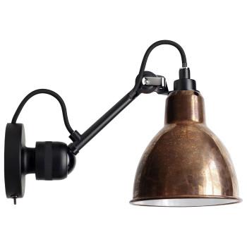 DCW Lampe Gras No 304 SW, schwarz, Schirm Kupfer roh (innen weiß)