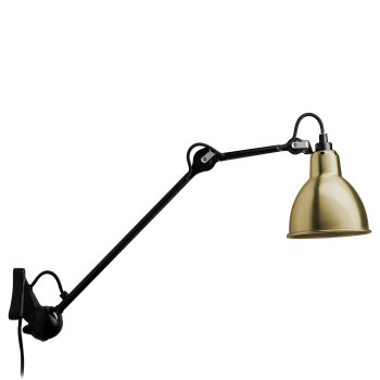 DCW Lampe Gras No 222, schwarz, Schirm Messing