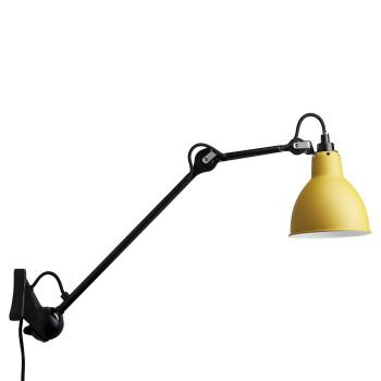DCW Lampe Gras No 222, schwarz, Schirm gelb