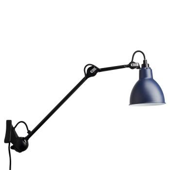 DCW Lampe Gras No 222, schwarz, Schirm blau