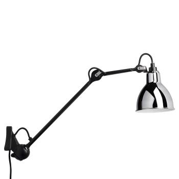 DCW Lampe Gras No 222, schwarz, Schirm Chrom