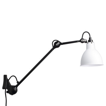 DCW Lampe Gras No 222, schwarz, Schirm Glas matt