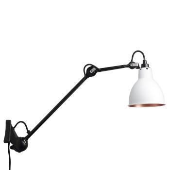 DCW Lampe Gras No 222, schwarz, Schirm weiß (innen Kupfer)
