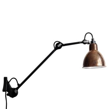 DCW Lampe Gras No 222, schwarz, Schirm Kupfer roh (innen weiß)