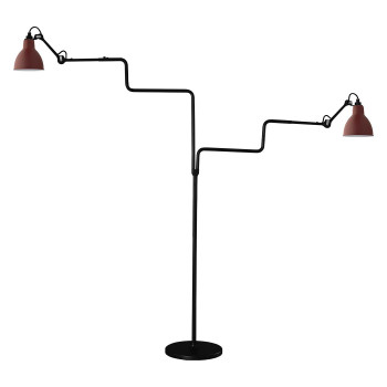 DCW Lampe Gras No 411 Double, Schirm rot
