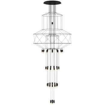 Vibia Wireflow Chandelier 0375, schwarz