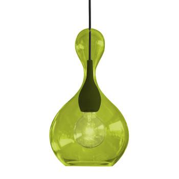 Next Blubb Pendelleuchte, Schirm limegrün/schwarz, schwarzes Kabel, schwarzer Baldachin