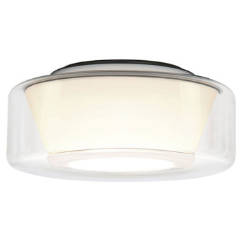 Serien Lighting Curling Ceiling L LED, 2700K, dimmbar Phasendimmer, Glasschirm klar, Reflektor konisch opal