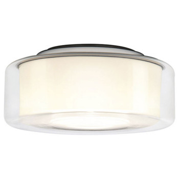 Serien Lighting Curling Ceiling L LED, 2700K, dimmbar Phasendimmer, Glasschirm klar, Reflektor zylindrisch opal
