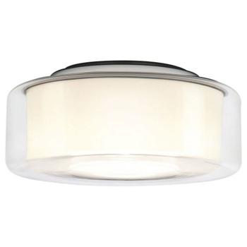 Serien Lighting Curling Ceiling L LED, 2700K, dimmbar Phasendimmer, Glasschirm klar, Reflektor zylindrisch opal