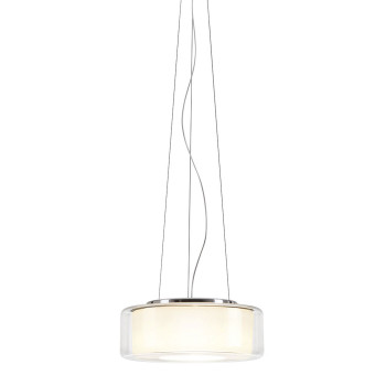 Serien Lighting Curling Suspension Rope L LED, 2700K, dimmbar DALI, Glasschirm klar, Reflektor zylindrisch opal