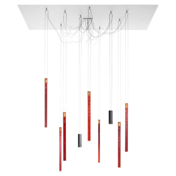 Ingo Maurer Flying Flames 7, red candles, black downlights