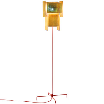 Ingo Maurer 24 Karat Blau Floor, red structure, gold leaf diffuser