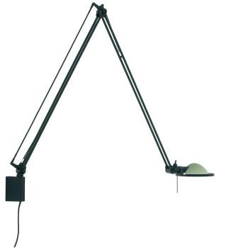 Luceplan Berenice Parete Grande, Struktur schwarz, Glasreflektor salbeigrün