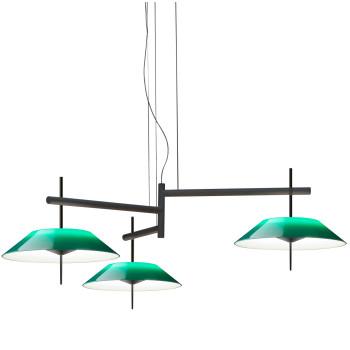 Vibia Mayfair 5530 Pendelleuchte, Glänzendes Schwarz-Nickel und grün