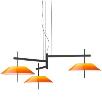 Vibia Mayfair 5530 Pendelleuchte, Glänzendes Schwarz-Nickel und orange