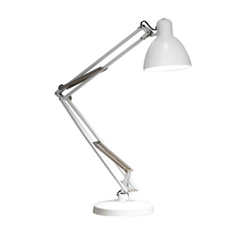 FontanaArte Naska 1 Lampe de table LED, châssis blanc, pied rond blanc