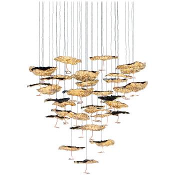 Catellani & Smith Gold Moon Chandelier, 35 Schirme