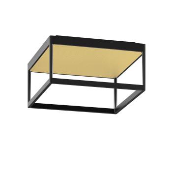 Serien Lighting Reflex² Ceiling M 150, TRIAC, 3000K, Gehäuse schwarz, Glas strukturiert hellgold