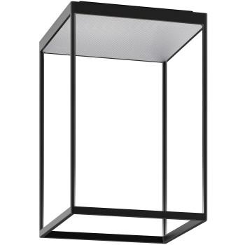 Serien Lighting Reflex² Ceiling M 450, Gehäuse schwarz, Glas strukturiert silber