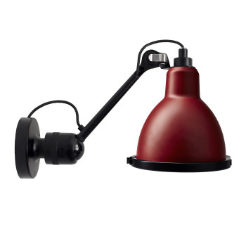 DCW Lampe Gras No 304 XL Seaside, schwarz, Schirm rot